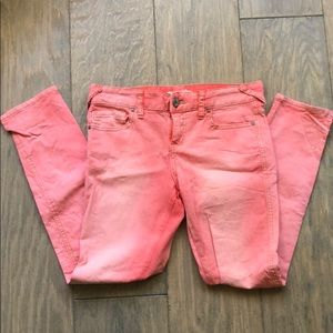 Pink/ coral / peach jeans